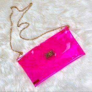 Handbags - Neon Pink Clear Clutch Crossover Bag